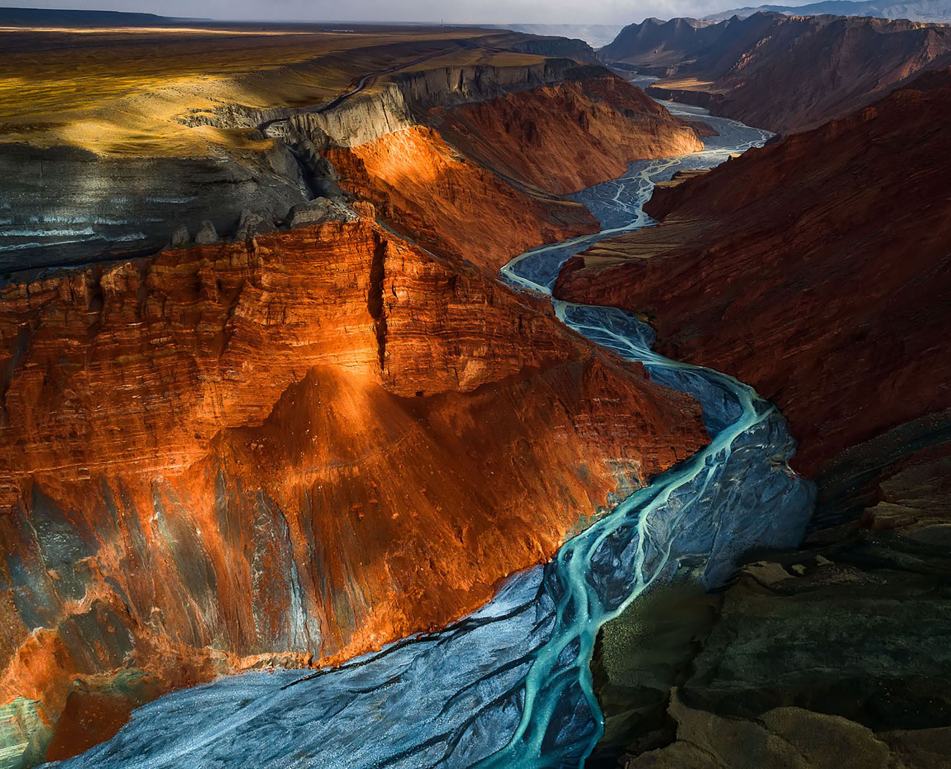 DUSHANZI GRAND CANYON. Different types of metallic minerals make the canyon so splendid.
