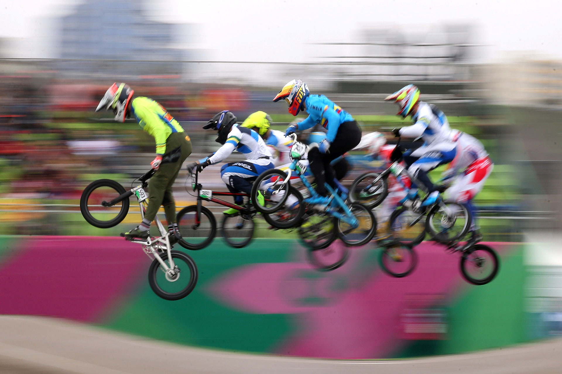 XVIII Pan American Games - Lima 2019 - Cycling BMX - Men Semifinal  - Costa Verde Beach Circuit, Lima, Peru - August 9, 2019. Athletes compete. REUTERS/Pilar Olivares     TPX IMAGES OF THE DAY