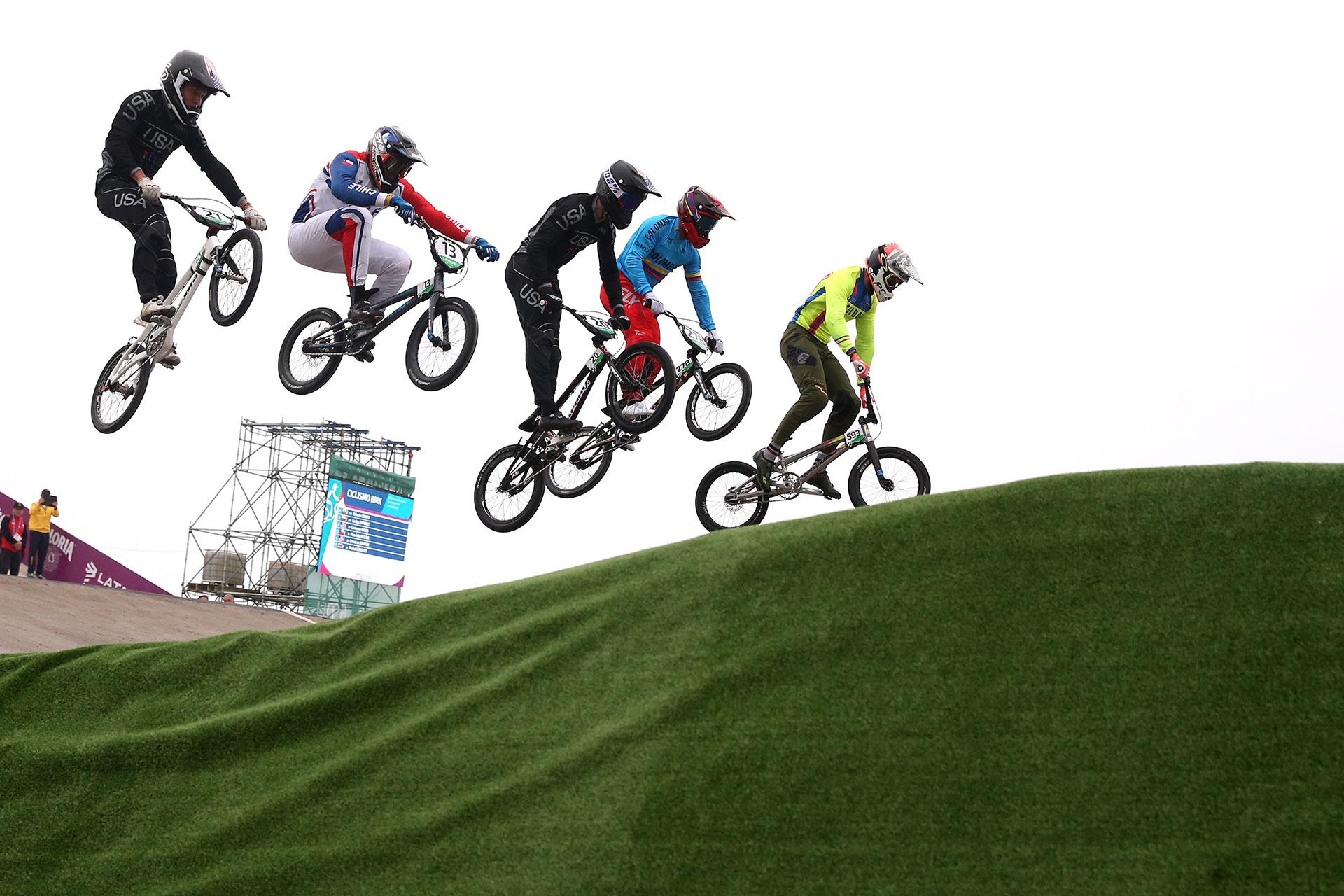 XVIII Pan American Games - Lima 2019 - Cycling BMX - Men's Semifinal  - Costa Verde Beach Circuit, Lima, Peru - August 9, 2019. Athletes compete. REUTERS/Pilar Olivares