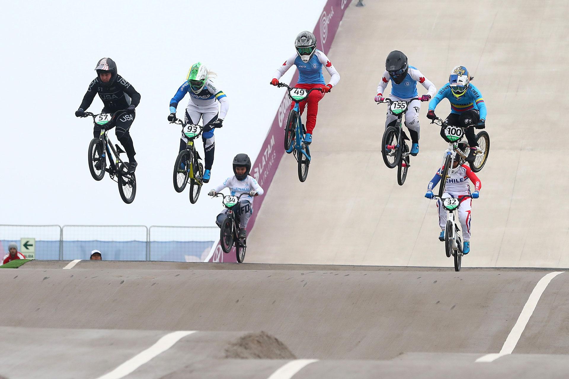 XVIII Pan American Games - Lima 2019 - Cycling BMX - Women Quarterfinal  - Costa Verde Beach Circuit, Lima, Peru - August 9, 2019. Athletes compete. REUTERS/Pilar Olivares