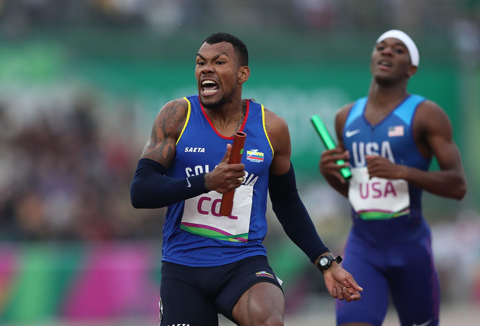 XVIII Pan American Games - Lima 2019 - Athletics - Men's 4x400m Relay Final - Athletics Stadium, Lima, Peru - August 10, 2019. Colombia's Anthony Zambrano celebrates the team's gold medal finish. REUTERS/Ivan Alvarado