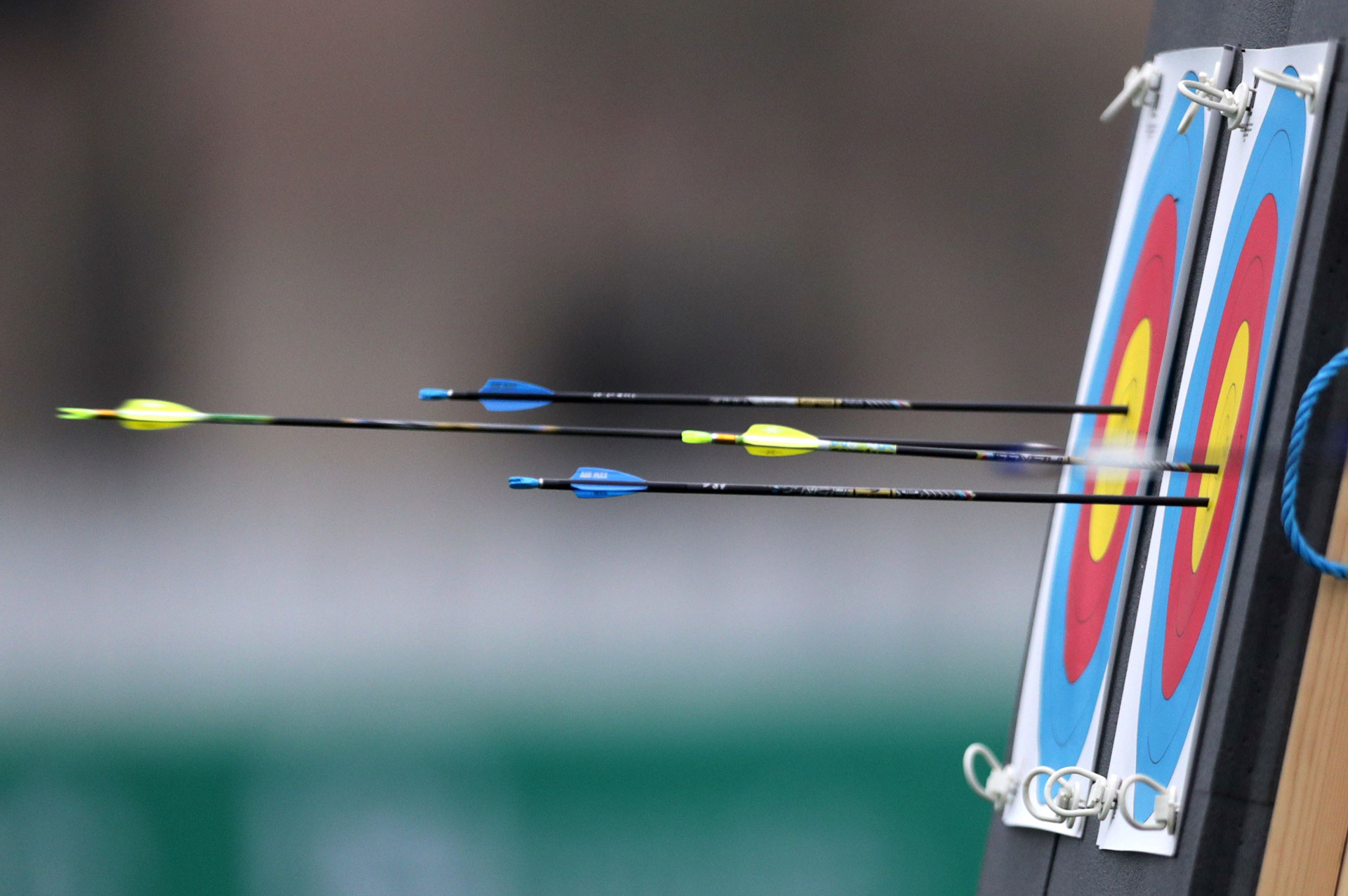 XVIII Pan American Games - Lima 2019 - Archery - Rugby Field, Lima, Peru - August 10, 2019. An arrow hits the target. REUTERS/Guadalupe Pardo