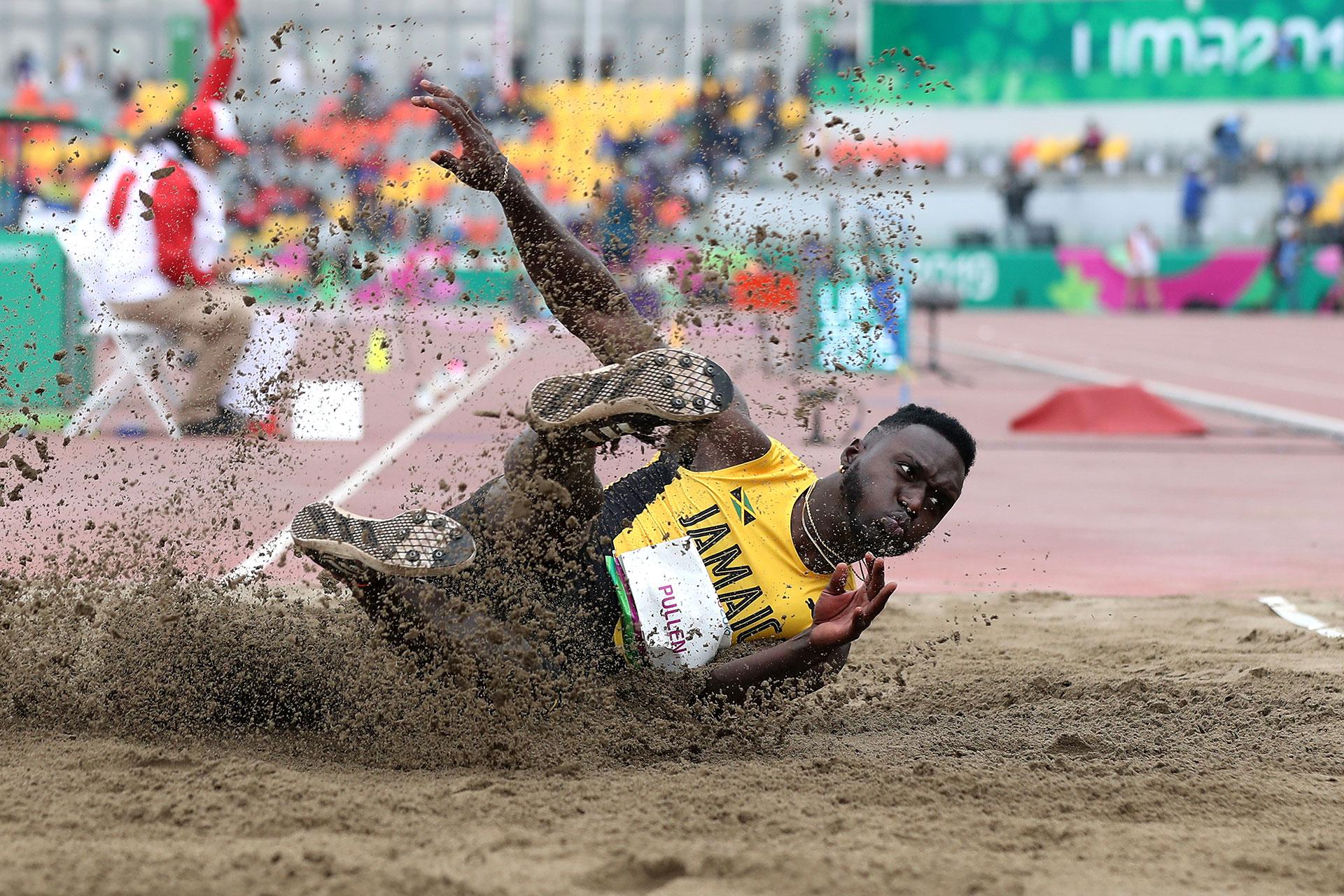 XVIII Pan American Games - Lima 2019 - Athletics - Men's Triple Jump Final - Athletics Stadium, Lima, Peru - August 10, 2019. Jamaica's Clive Pullen in action. REUTERS/Henry Romero