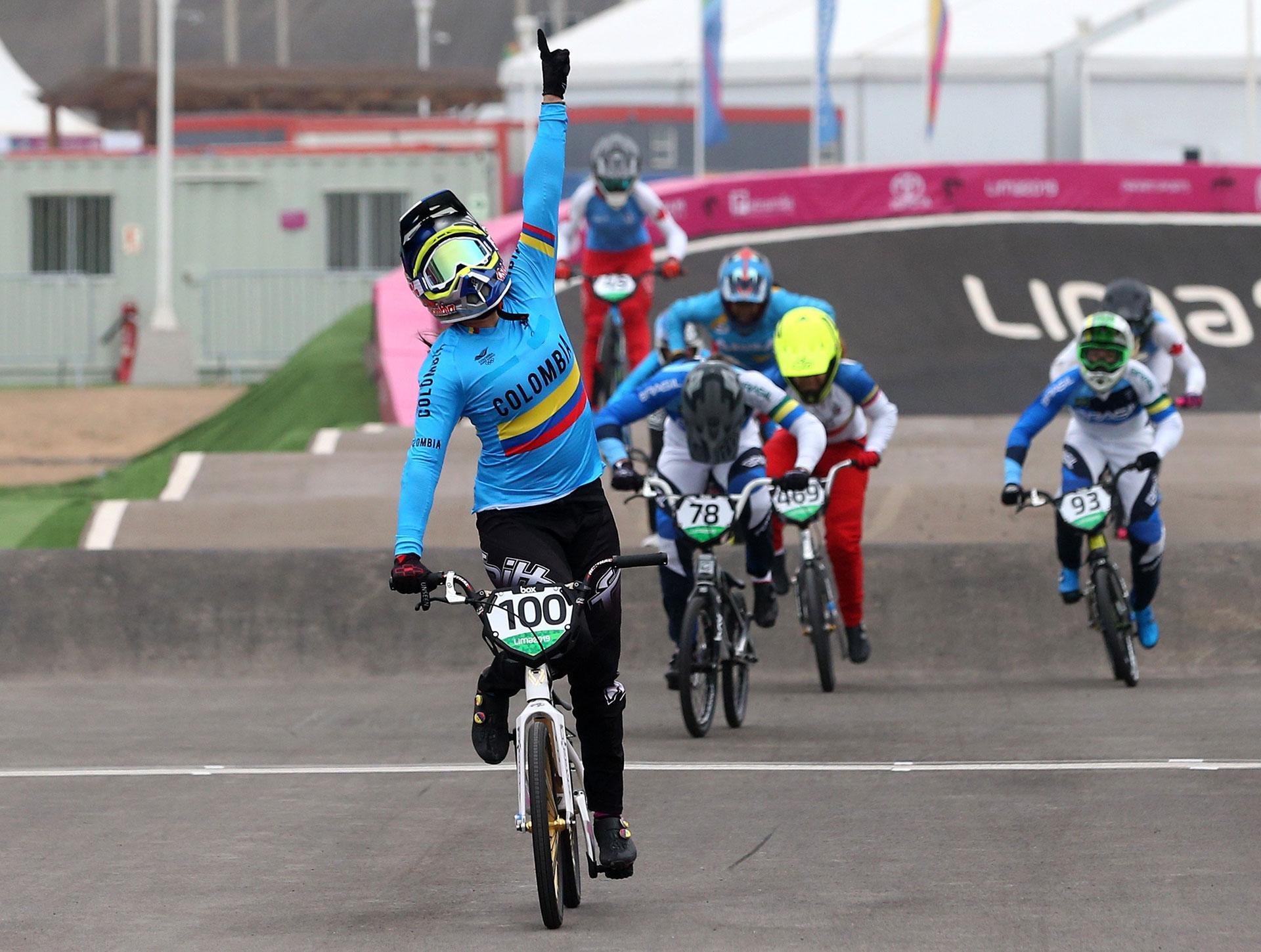 XVIII Pan American Games - Lima 2019 - Cycling BMX - Women's Final  - Costa Verde Beach Circuit, Lima, Peru - August 9, 2019. Colombia's Mariana Pajon wins the race. REUTERS/Pilar Olivares