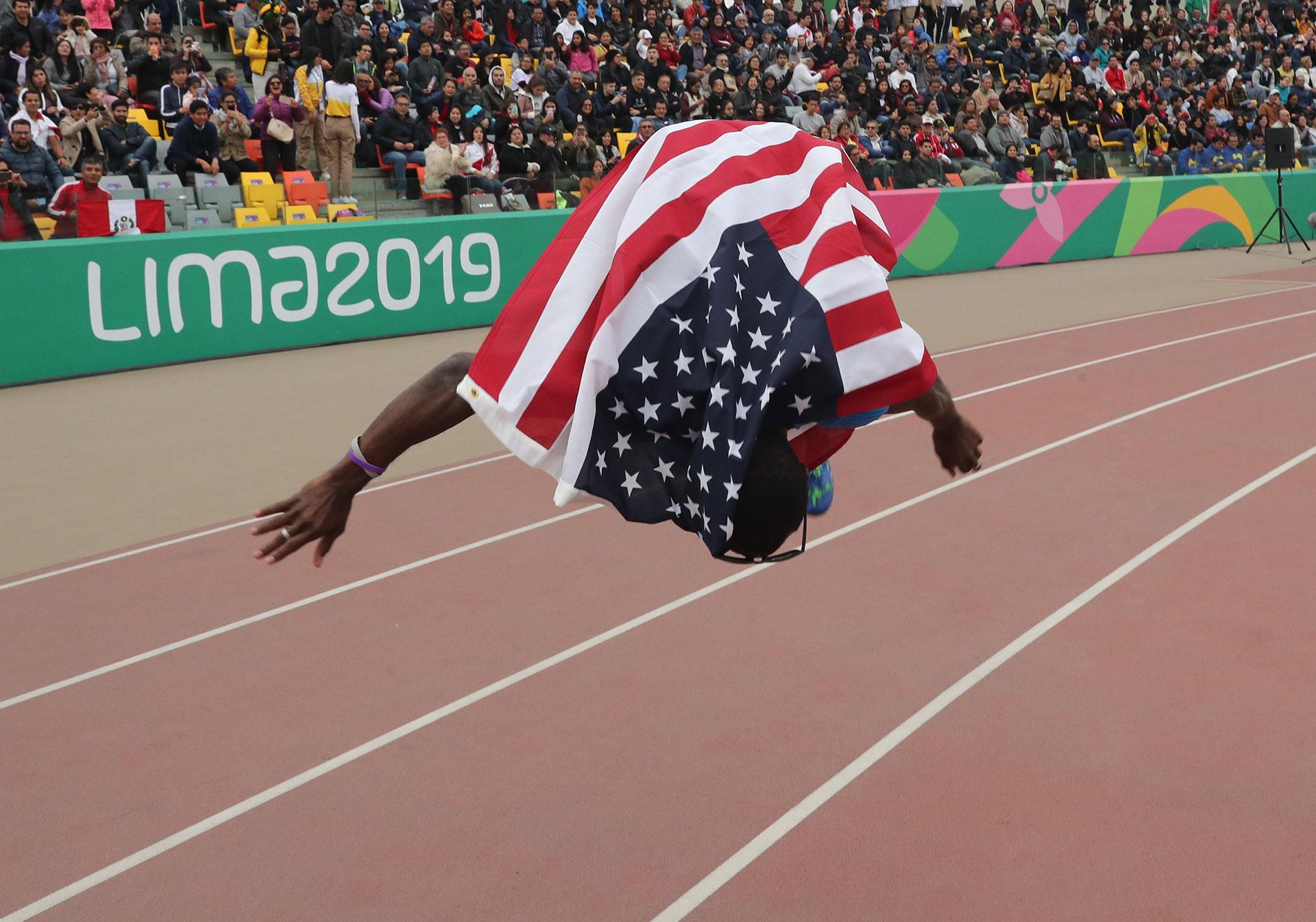 XVIII Pan American Games - Lima 2019 - Athletics - Men's Triple Jump Final - Athletics Stadium, Lima, Peru - August 10, 2019. Omar Craddock of the U.S. celebrates winning the gold medal in the event. REUTERS/Henry Romero