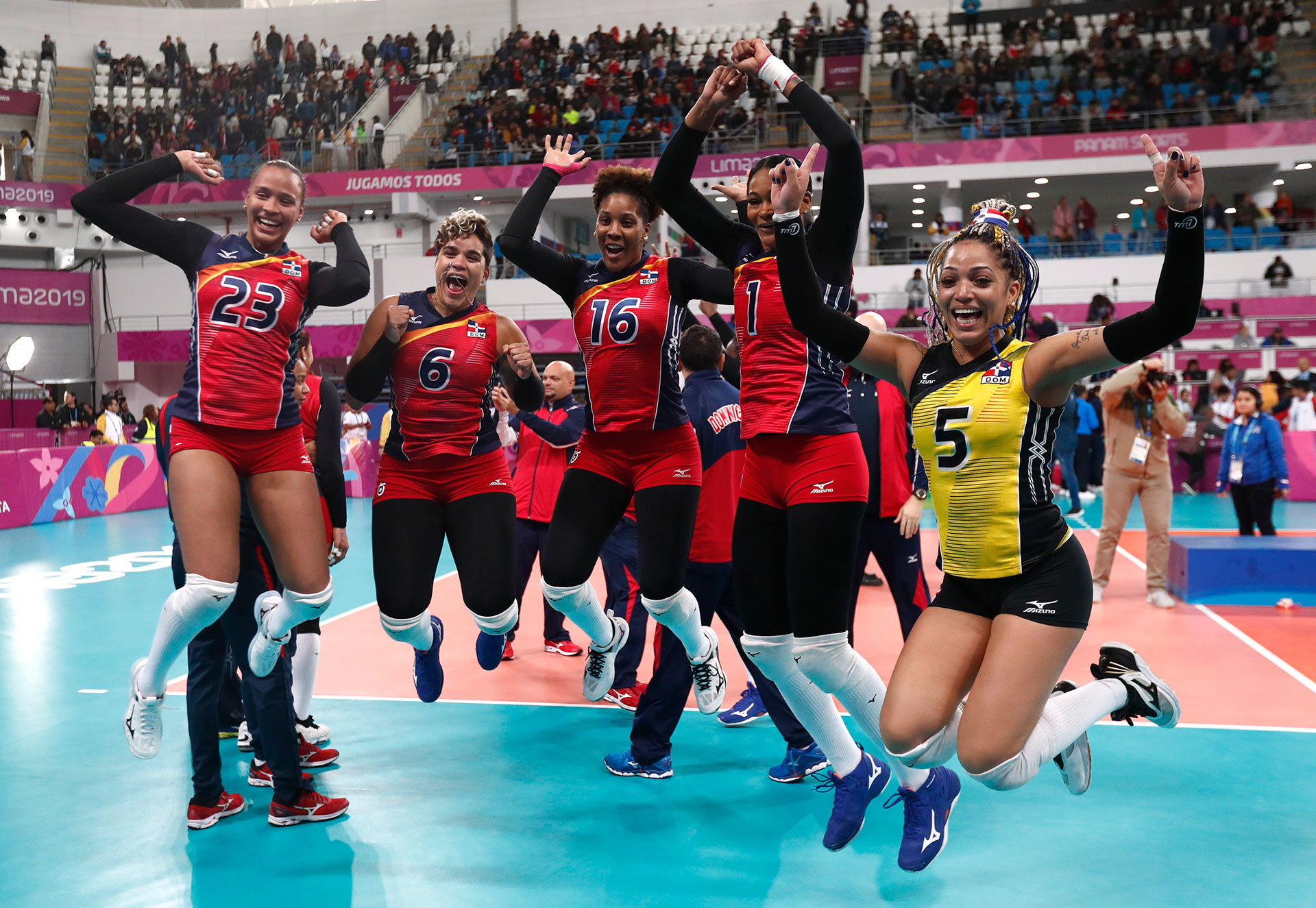 XVIII Pan American Games - Lima 2019 - Volleyball - Women Gold Medal Match - Colombia v Dominican Republic - Callao Sports Center, Lima, Peru - August 11, 2019 Dominican Republic players celebrate winning a gold medal. REUTERS/Susana Vera