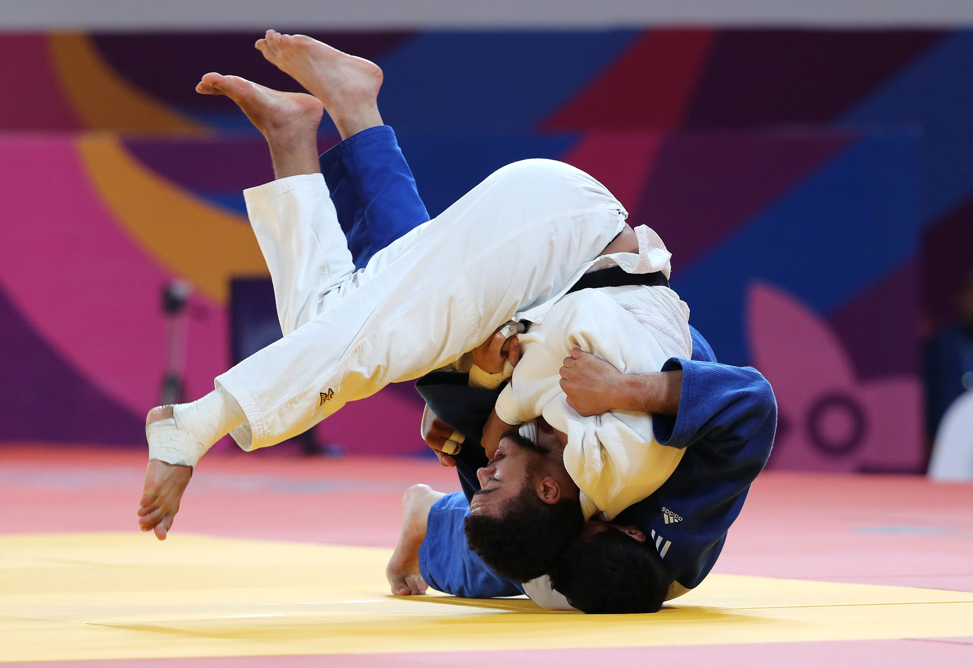 XVIII Pan American Games - Lima 2019 - Judo - Men's -100 kg Gold Medal Match - Villa Deportiva Nacional, Videna, Lima, Peru - August 11, 2019 LA Smith of the U.S. and Chile's Thomas Briceno in action. REUTERS/Sergio Moraes
